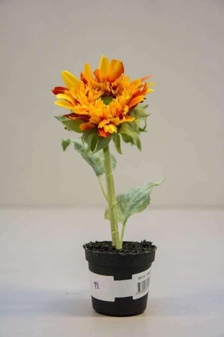 Kunstige blomster - gul og rød solsikke i potte