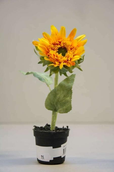 Kunstige blomster - gul solsikke i potte