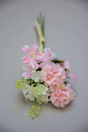 Kunstige blomster - lille buket af lyserøde blomster