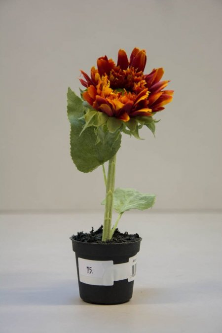 Kunstige blomster - rød solsikke i potte