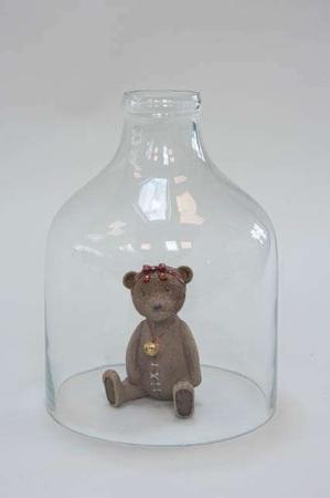 Flaskeformet glasklokke - Lille