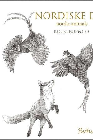 Kort og kuvert med motiver af nordiske dyr