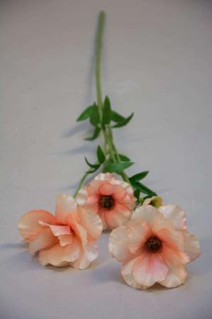 Kunstig blomsterkvist - japansk ranunkel - laks