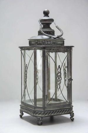 Udendørs lanterne i jern. Romantisk lanterne til haven. Indendørs lanterne vintagestil.