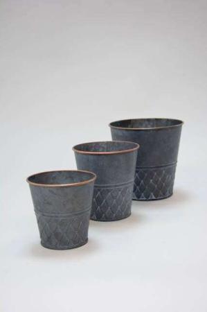 Urtepotteskjuler af zink - Potteskjuler med kobberkant