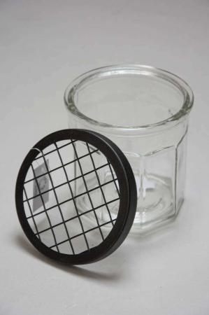Vase låg til marmeladeglas fra Ib Laursen - sort net