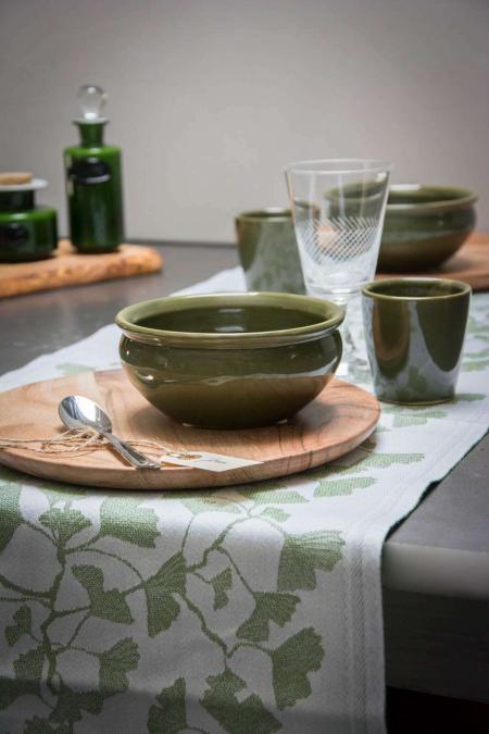 Ekelund bordløber af stof med grønne blade