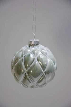 Grøn juletræskugle med glitter