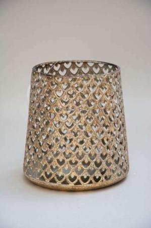 Gylden fyrfadsstage med glas indsats