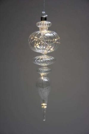 Juleophæng af glas med led lys