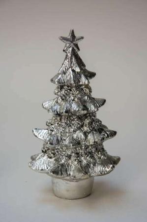 Sølvfarvet juletræs figur