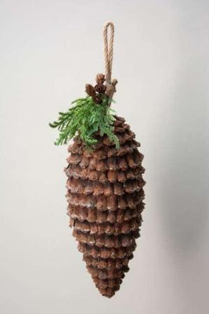 Stor julekogle med gran kvist - juleophæng