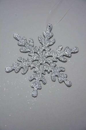 Juletræspynt med glimmer - sølv