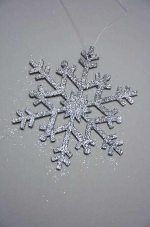 Juletræspynt med glimmer -sølv snefnug