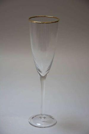 Chanpagneglas med riller og guld kant