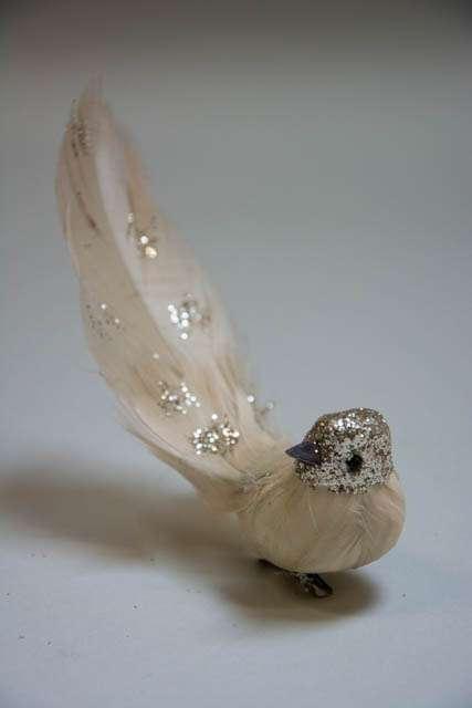 Fugl på klips til at sætte på gren - rosa med glimmer
