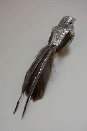 Fugl på klips til at sætte på gren - sølv glimmer