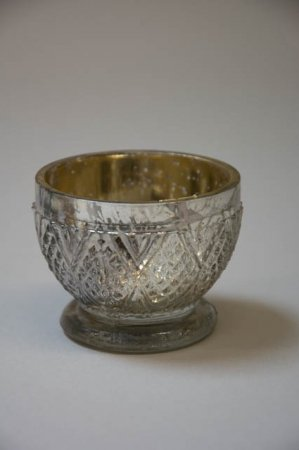 Fyrfadsstage på fod - antik sølv look