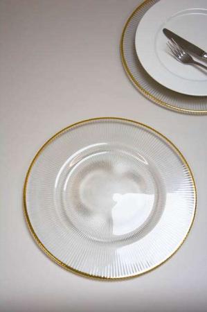 Glas dækketallerken med riller og guld kant