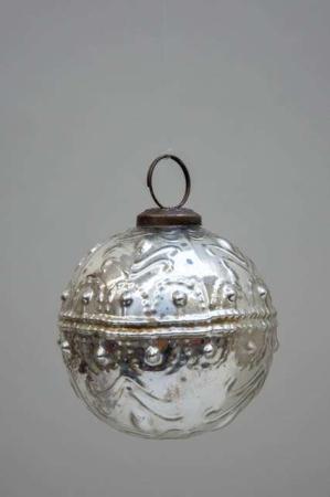 Glas julekugle fra Ib Laursen - sølv med mønster