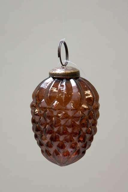 Glas juletræskugle fra Ib laursen - amber kogle