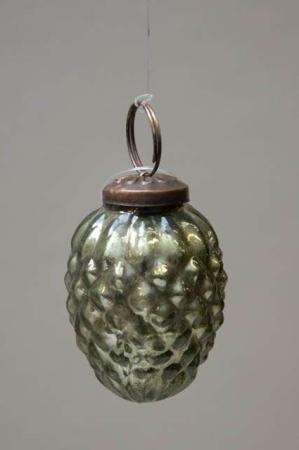 Glas juletræskugle fra Ib laursen - blank grøn kogle