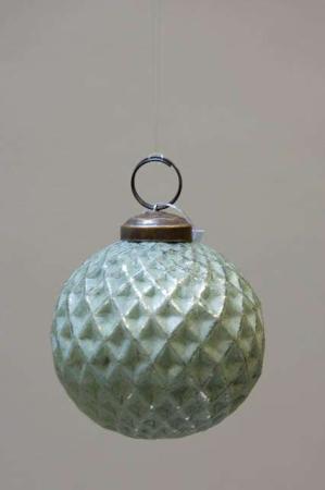 Glas juletræskugle fra ib laursen med harlekinmønster - grøn