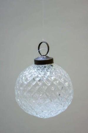 Glas juletræskugle fra ib laursen med harlekinmønster - klar glas