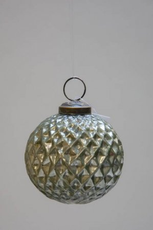 Glas juletræskugle fra ib laursen med harlekinmønster - oliven grøn