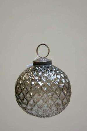 Glas juletræskugle fra ib laursen med harlekinmønster - røgfarvet glas