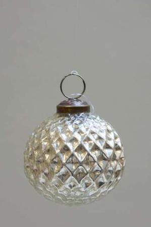 Glas juletræskugle fra ib laursen med harlekinmønster - sølvn