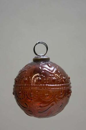 Glas juletræskugle fra ib laursen med svungen mønster - amber