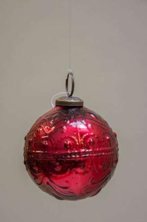 Glas juletræskugle fra ib laursen med svungen mønster - rød