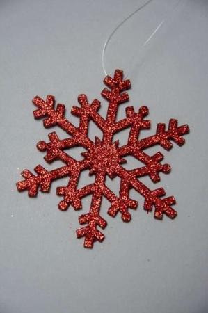 Juletræspynt med glimmer - rødt snefnug