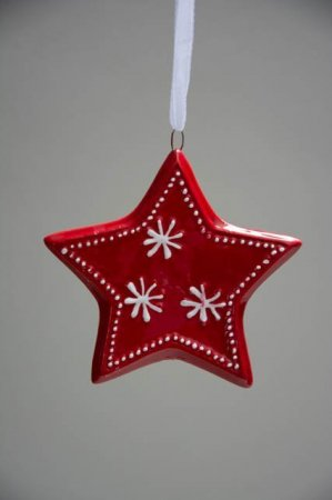Juletræspynt - rød stjerne
