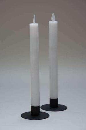 LED stagelys med timer og bevægelig flamme - hvid