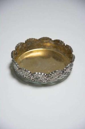 Lille glas fad til bloklys - antik sølv