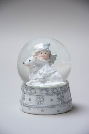 Lille hvid rystekugle med engel på rensdyr 2