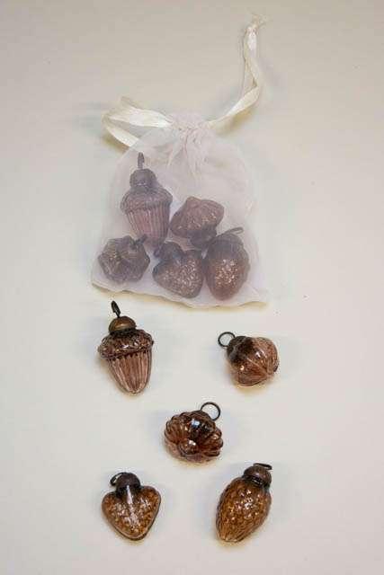 Pose med 10 små juletræskugler fra Ib Laursen - amber