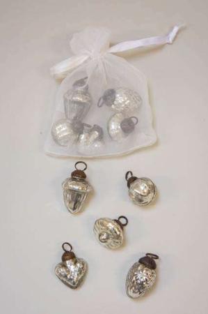 Pose med 10 små juletræskugler fra Ib Laursen - sølv