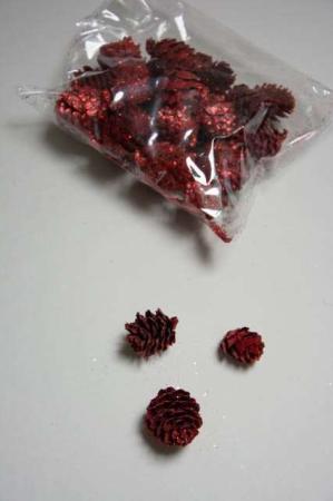 Pose med røde kogler til dekorationer