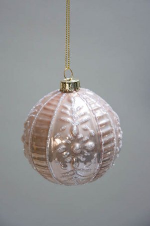 Rosa juletræskugle med hvid glitter