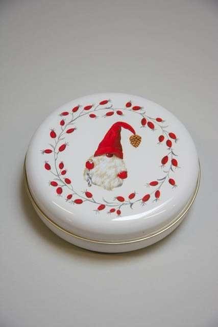 Rund julekagedåse med nisse