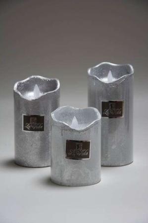 Sølvfarvet led bloklys med timer og bevægelig flamme
