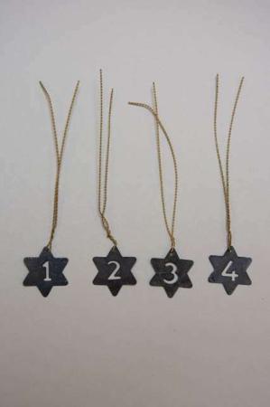 Stjerneformede adventstal - sort metal