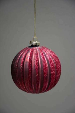 Bordeaux juletræskugle af glas med glimmer