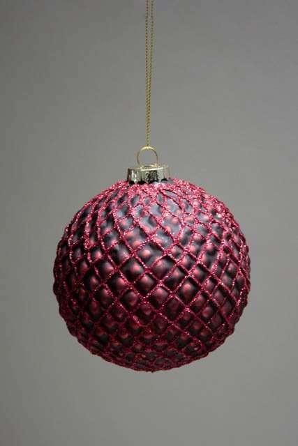 Bordeaux juletræskugle af glas med glimmer mønster