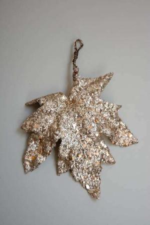 Juleophæng - ahorn blad med guld pailetter