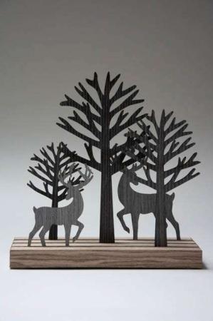 Julepynt - træ silhuetter af krondyr