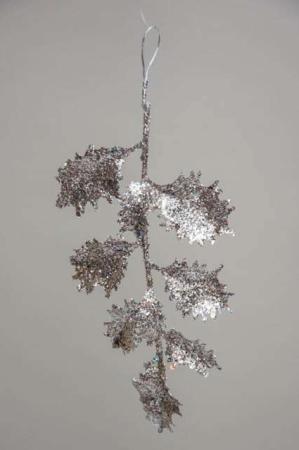 Kristtjørn blad med sølv glimmer - juleophæng